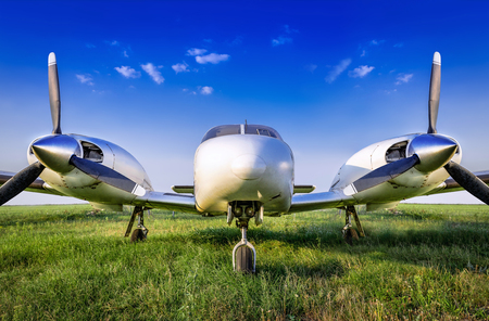 sports plane against a blue sky Stock Photo