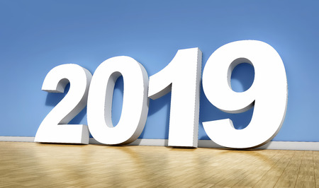 3D rendering of an 2019 symbol