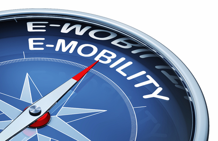 3D rendering of a compass with the word e-mobility Stock Photo - 99363756