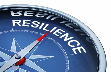 Rendering 3D di una bussola con la parola resilienza