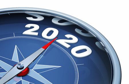 3D-Rendering eines Kompass mit dem Jahr 2020 Standard-Bild