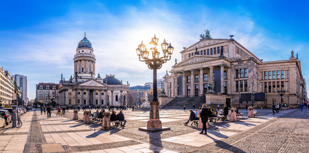 panoramic view at the gendarmenmarkt in berlin 스톡 콘텐츠 - 117215524