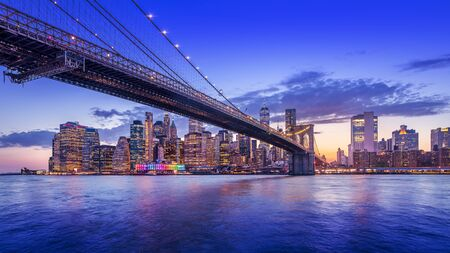 Panoramic view at Manhattan while sunset, New York Banco de Imagens