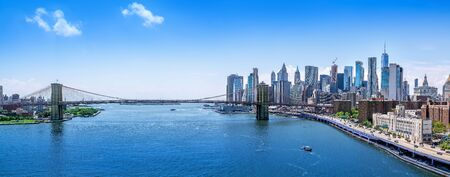 Panoramic view at Manhattan on a sunny day Banco de Imagens