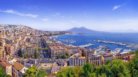Panoramic view at the beautiful coastline of napoli