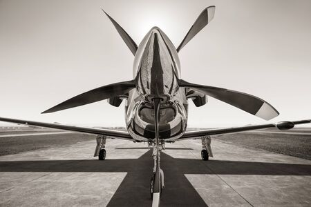 Sports plane on a runway waiting for take off