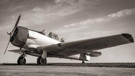 An historical aircraft after landing 写真素材