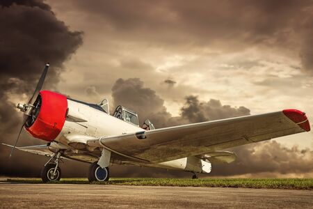 Historical aircraft on a runway 写真素材