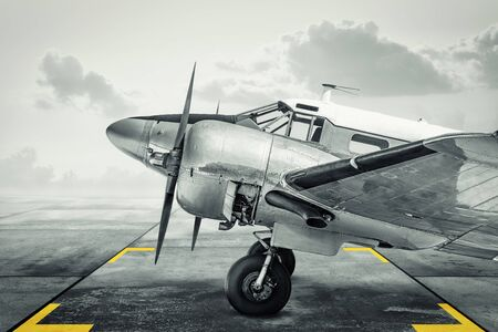 Historical aircraft on an airfield 写真素材