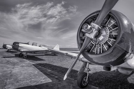 Historical aircrafts on an airfield 写真素材