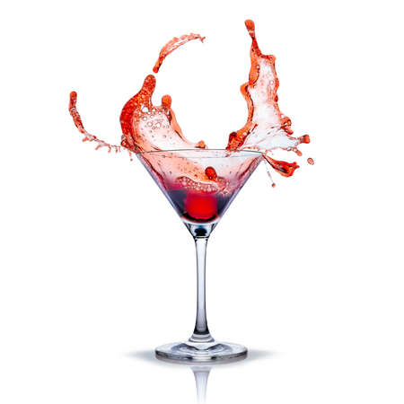 cocktail glass with red splashes Stockfoto