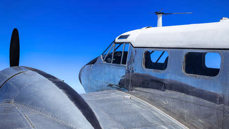 historical aircraft against a blue sky Stockfoto