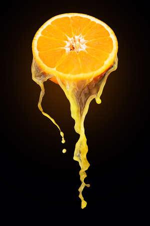 fresh orange juice from a slice of orange