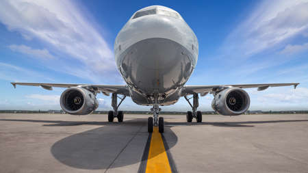modern airliner on a runway ready for take off Stockfoto