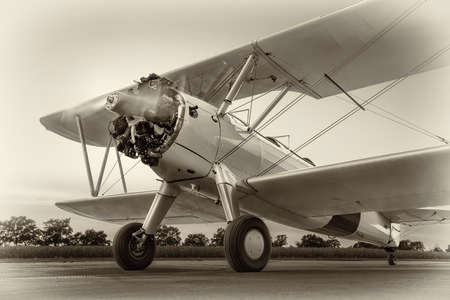 historical aircraft on a runway ready for take off