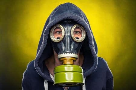 woman wearing a respiratory mask Stockfoto