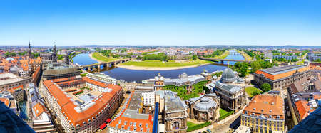panoramic view at the historical old town of dresden