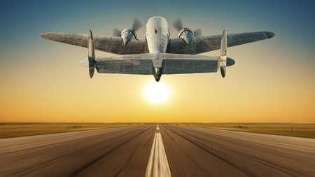 landing of an historical aircraft against a sunset