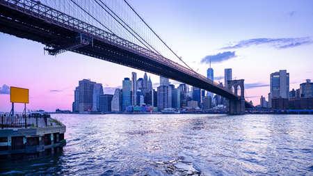 the skyline of manhattan while sunset, new york Stockfoto