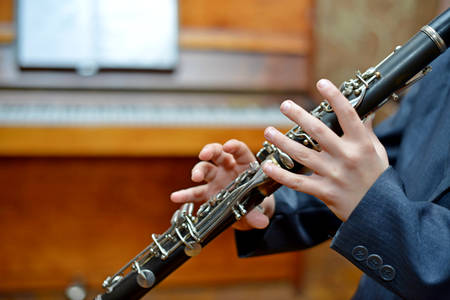 Boy playing the clarinet Standard-Bild