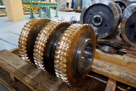 bronze gear in stock after processing slot Stock Photo
