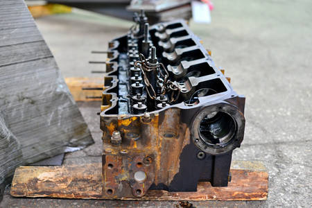 Car head, disassembly of internal combustion engine Stock Photo