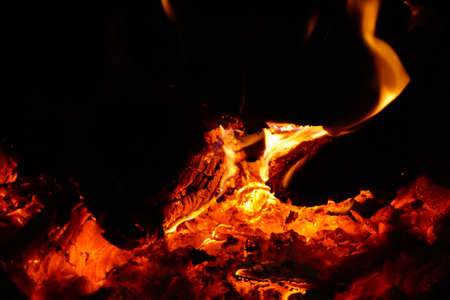Fire in the furnace, flames from burning coals