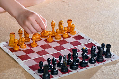 Chess pieces on the board, the concept of victory, winnings and leadership.