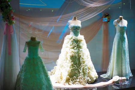 Mariupol, Ukraine, May 26, 2018: Salon of wedding dresses 에디토리얼