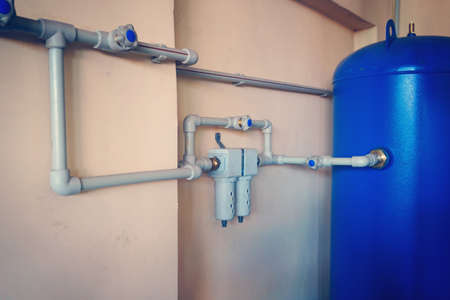 Control air valve, cock, valve, reservoir of air compressor using plastic pipe at the power plant in the enterprise. 版權商用圖片