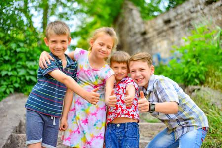 Joyful children playing in the park.