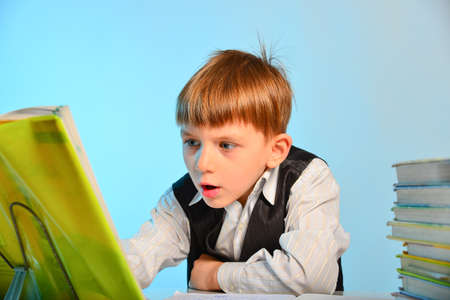 Surprised little schoolboy among notebooks and textbooks at his desk at school in the classroom. Stockfoto