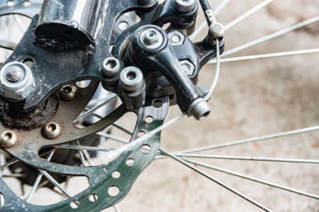 Transmissions and brakes on the bike, chain, sprocket and disc brakes. 스톡 콘텐츠