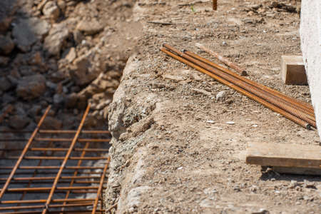 A bunch of iron rods at a construction site for the foundation. Stok Fotoğraf