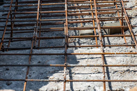 The armature is wired, the foundation of the concrete solution. Concrete foundation for the industrial construction of buildings and structures.