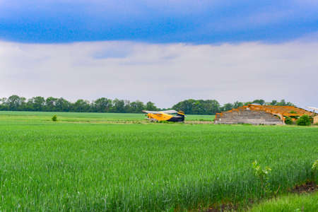 Yellow plane on a wheat field. Sowing, reaping, fertilizer of agricultural crops.
