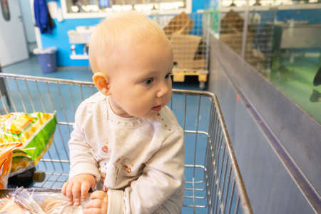 A child in a supermarket on a trolley monitors the shopping of parents.