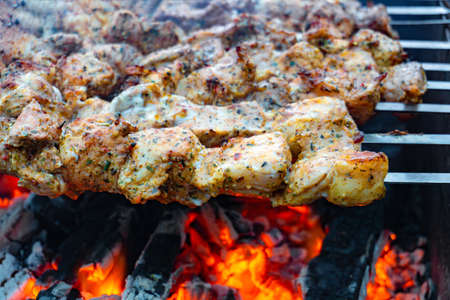 Shish kebabs on a fire, raw meat strung on skewers is fried over an open fire.