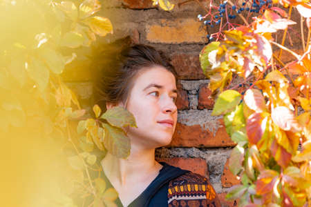 Portrait of a girl on a background of a brick wall and a yellow plant. Reklamní fotografie