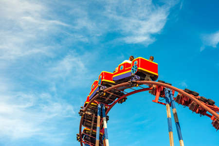 Roller coaster in an amusement park, extreme relaxation for adults and children