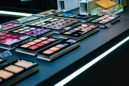 Set of makeup artist, eye shadow and powder for cosmetics and makeup for a beauty salon Standard-Bild