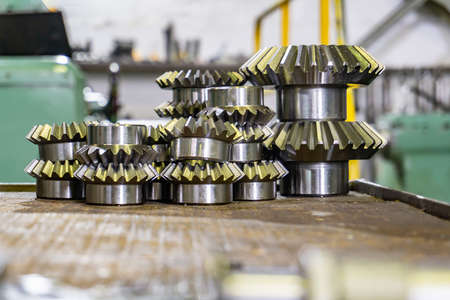 Bevel gears after manufacturing on a gear-cutting machine, for production in mechanical engineering