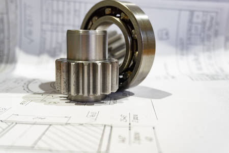 Gear, bearing and technical documentation in industrial production
