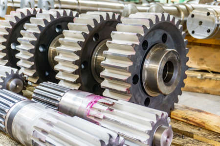 Shaft gear at the assembly site, tooth cutting, gear cutting production on CNC machines.