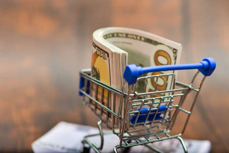 Dollar bills in a trolley, money in a consumer basket over a euro kidney. The concept of strengthening the dollar and its exaltation over the euro.
