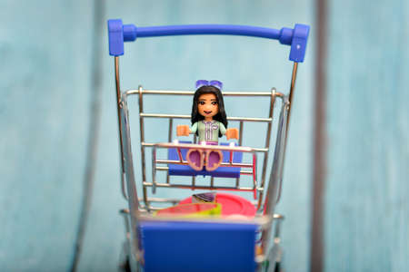 Cart with a doll, a childrens toy in a consumer basket.