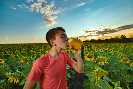 The guy eats honey from a jar against the background of a field with sunflowers and the evening sky. Beekeeping concept. Stockfoto