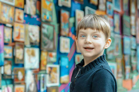 Surprised and joyful boy at an exhibition of paintings in the art gallery