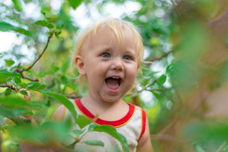 A little girl with a dirty face climbed a tree and smiles