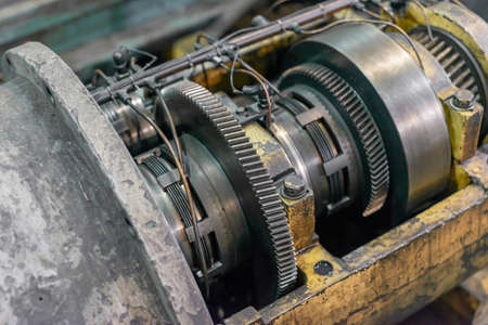 Gears and clutch in the gearbox of a cnc machine tool.